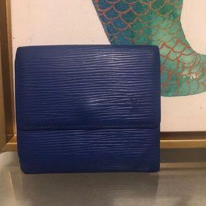 -LOUIS VUITTON- royal blue Epi snap fold wallet